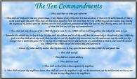 Printable Ten Commandments Post Card Blue